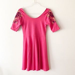 Free People Pink Garden Sleeve Embroidered Dress